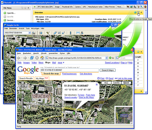 How to show the GPS position in Google Earth or Google Maps